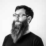 Portrait photo(black and white) of Jan Lenhardt.