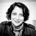 Portrait photo(black and white) of Katrin Apel.