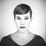 Portrait photo(black and white) of Lena Reinhard.
